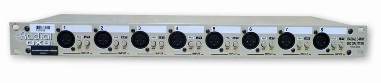 The Radial OX8 8-channel passive mic splitter is available at Hollywood Sound Systems.