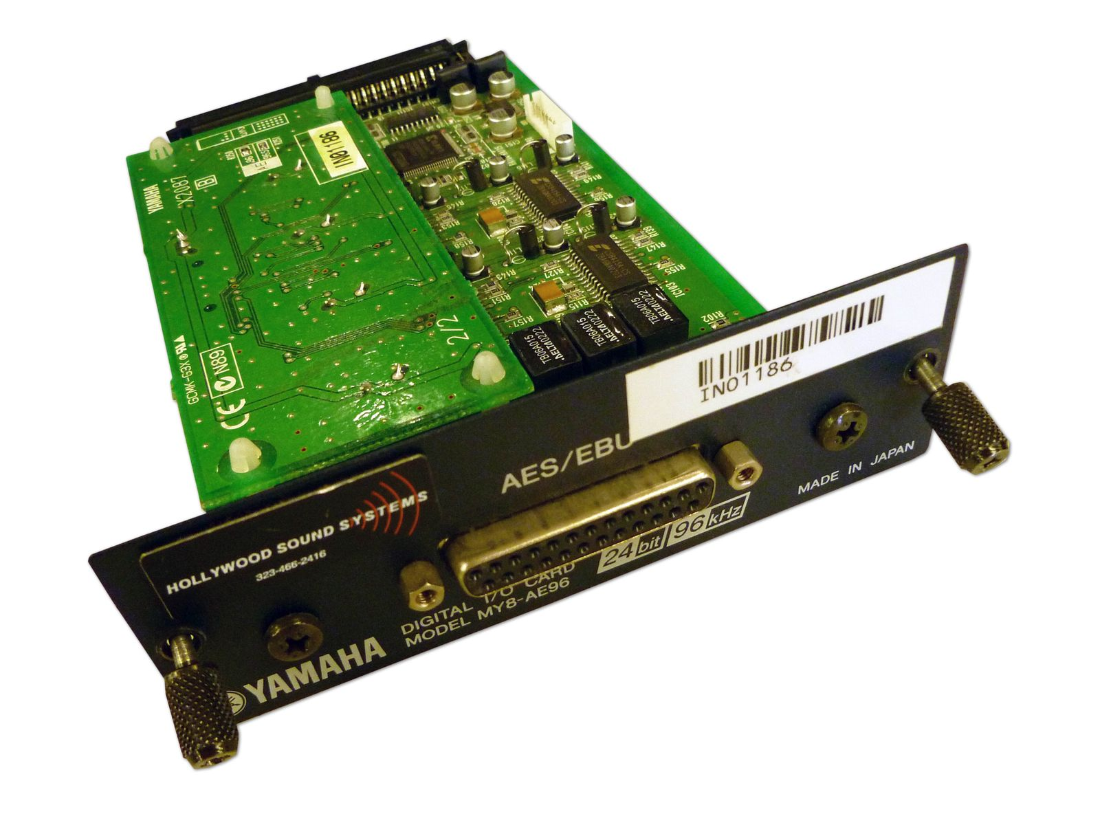 The Yamaha Model MY8-AE96 AES/EBU I/O Card is available at Hollywood Sound Systems.