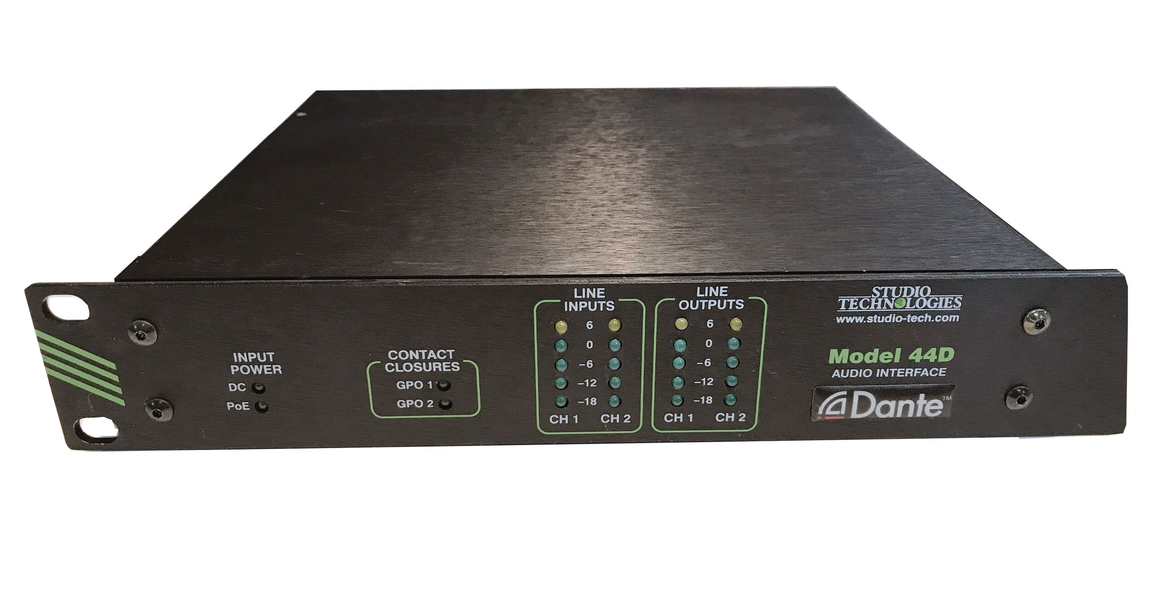 The Studio Technologies Model 44D Dante Interface is available at Hollywood Sound Systems