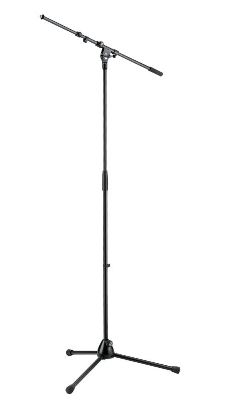 The K&M 210/9 Tripod Microphone Stand with Telescoping Boom is available at Hollywood Sound Systems.