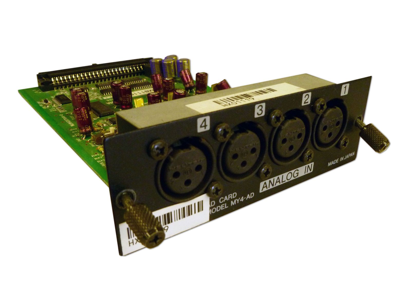The Yamaha Model MY4-AD 4-Channel Analog Input Card is available at Hollywood Sound Systems.