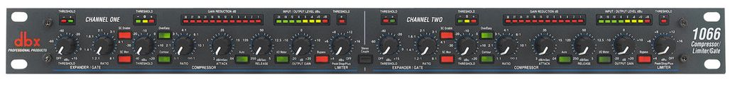 The DBX 1066 Dual Compressor is available at Hollywood Sound Systems.