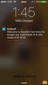Venue specific push notifications