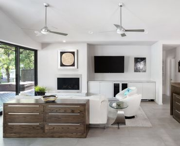 Buillt in cabinets in the living room and extra storage keep things clean and streamlined