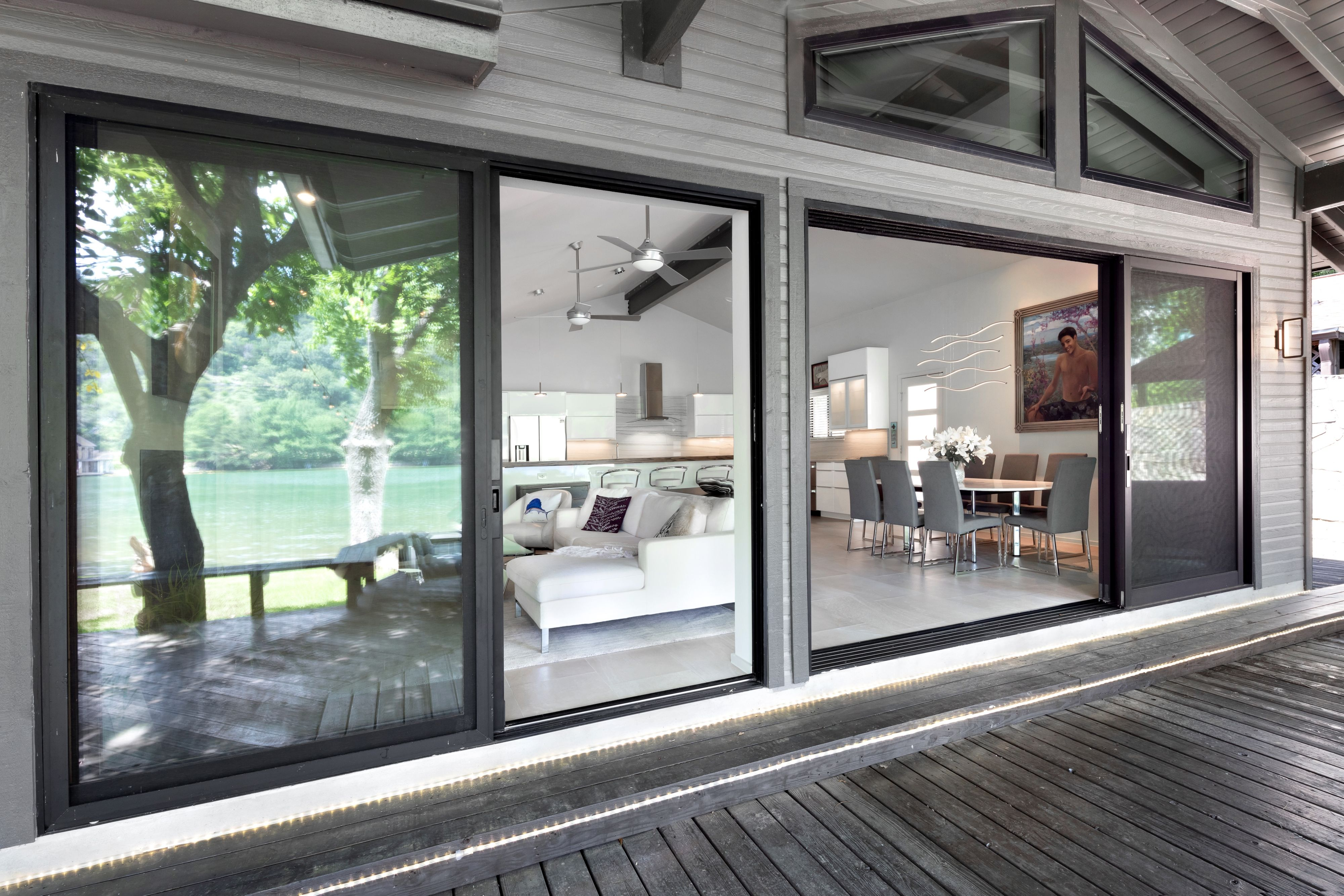 Extra large sliding doors let the summer breeze in