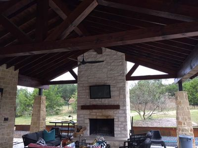 Custom Outdoor Fireplace and Pavilion