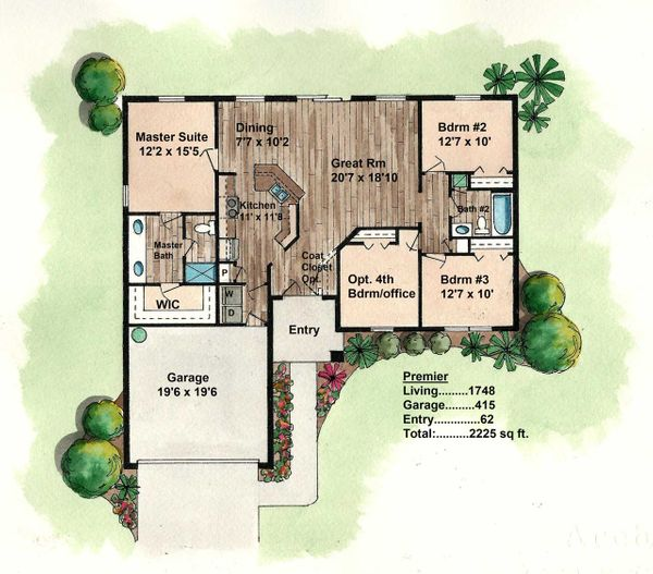 Florida Ranch House Floor Plan - Build On Your Own Lot