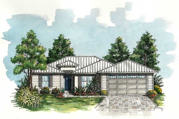 Coastal Style Florida Ranch House Floor Plan