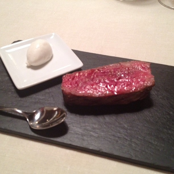 Keeper Collection - Grilled Entrecula, Grilled Steak Emulsion, & Salt Crystals at Mugaritz