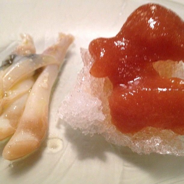 Cold Peach & Razor Clam at Mugaritz