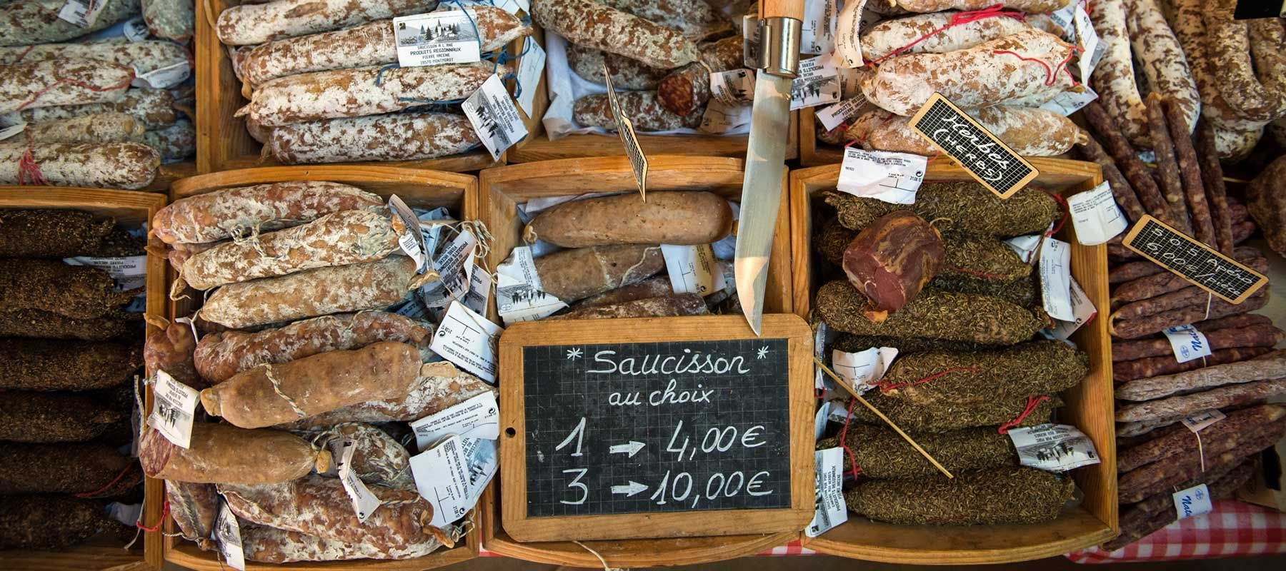 Sausages at Beaune Farmers Market