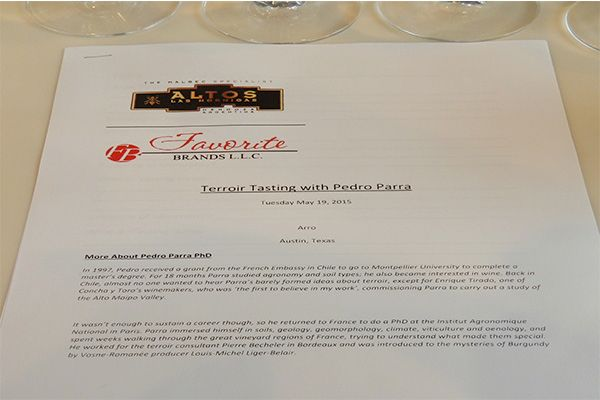 Terroir tasting with Pedro Parra