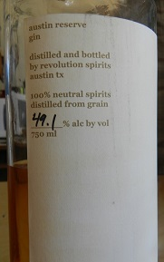 Austin Reserve Gin oaked in barrel