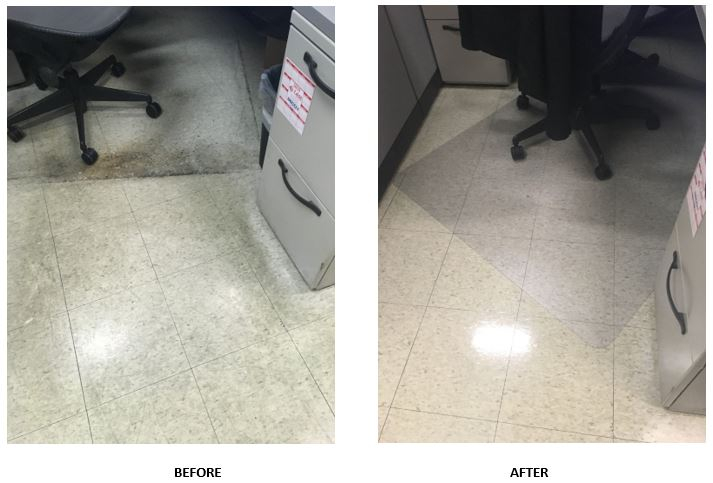 Before and after pictures of the strip and wax of the VCT floors.