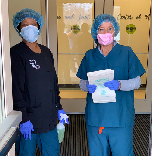 Awesome team members cleaning a medical facility.