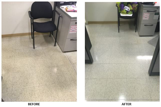 Before and after pictures of the strip and wax of the VCT floors