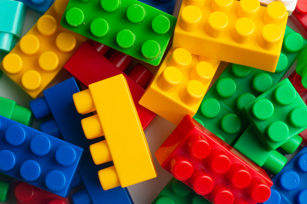red, yellow, green, and blue Lego® blocks