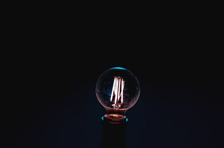 A close-up shot of bulb with dark background