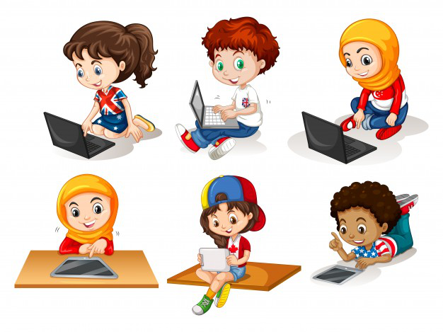 An illustration showing children of diverse background using technology to learn