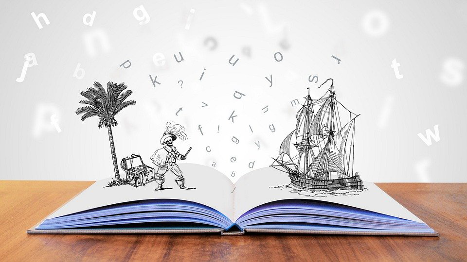 An open book with 3d illustrations and dancing letters