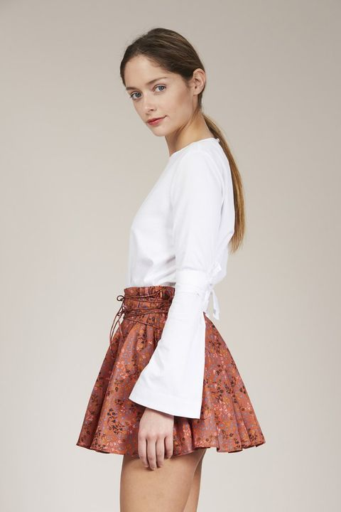 rust silk mini skirt