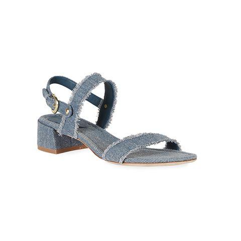 low heel denim sandals
