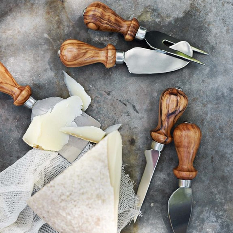 olivewood cheese knives set