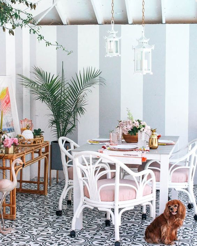 pink chairs with flamingo and dog.jpg