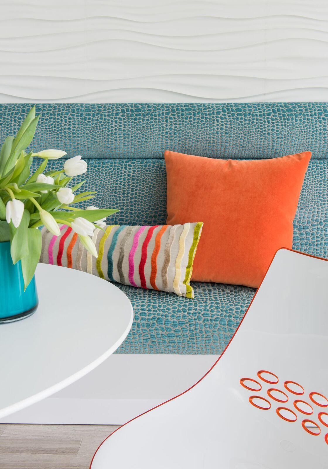 Brightly colored seating area