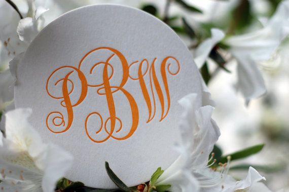 Monogrammed Letterpress Coasters