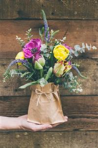 Paper Bag Floral Arrangement