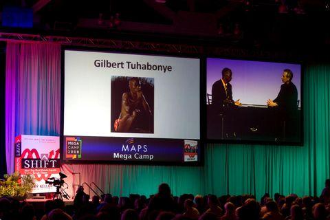 Shift Mega Camp 2008 keynote speaker Gilbert Tuhabonye