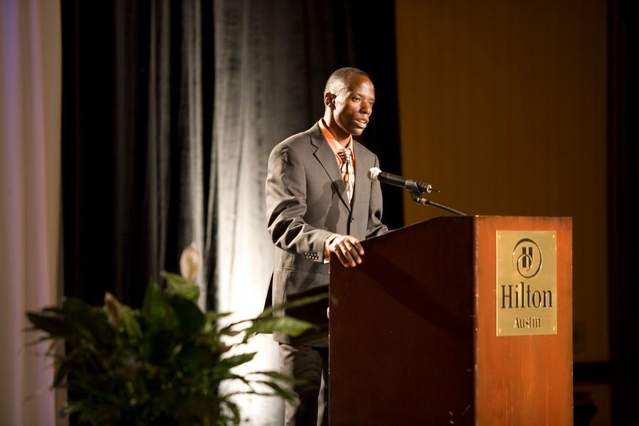 Gilbert Tuhabonye speaking at Catholic Charities of Central Texas (CCCTX)