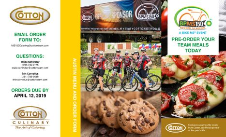 2019 MS150 Catering Menu - Austin