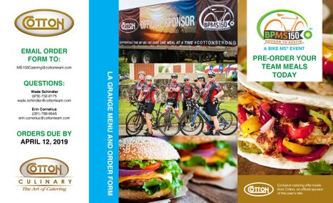 2019  MS150 Catering  Menu - La Grange