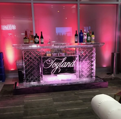 Toyland ice bar with red uplighting
