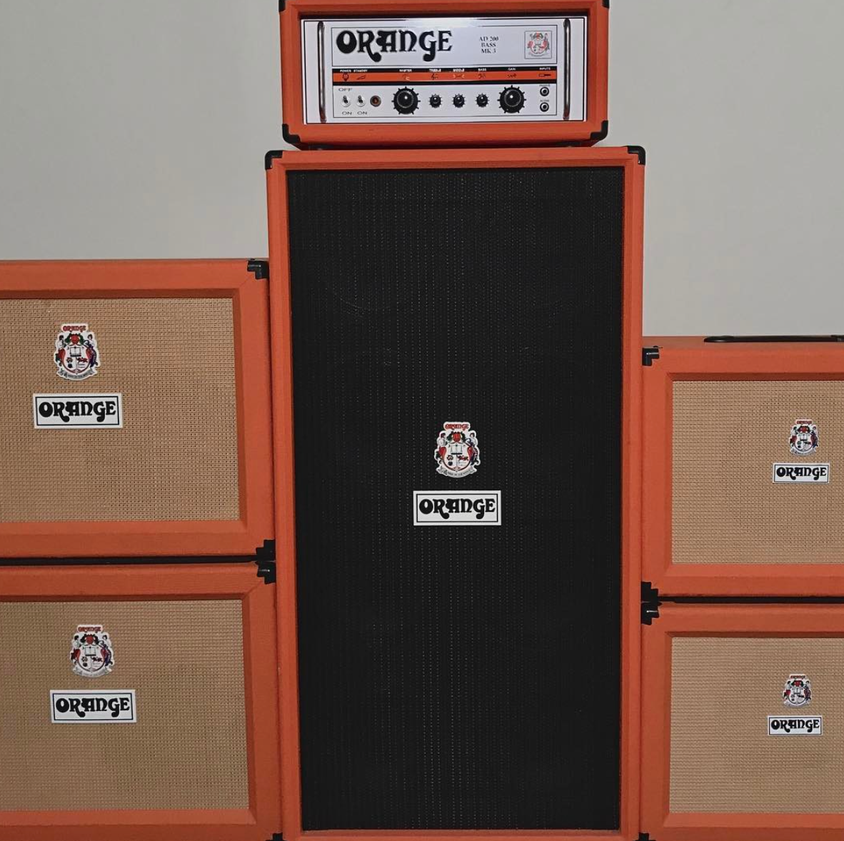 Orange Amps and Cabinets in the TSV Shop