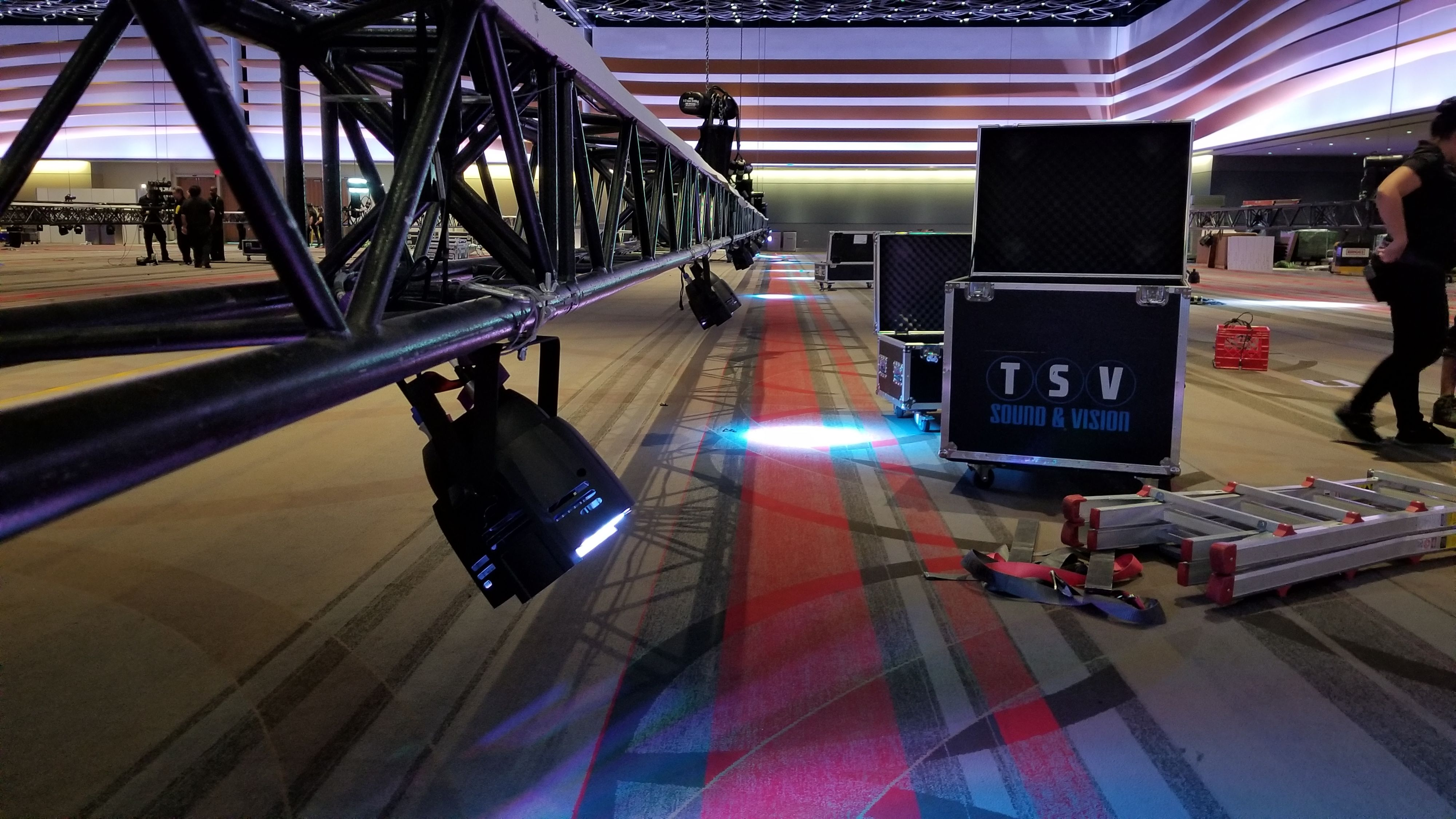 LED Light rigged to truss at conference