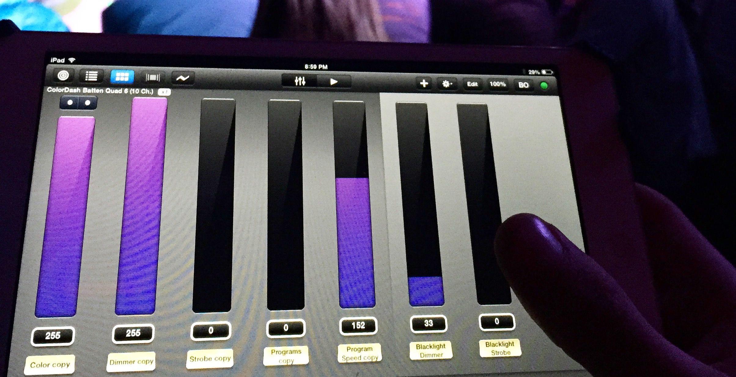 iPad lighting control panel