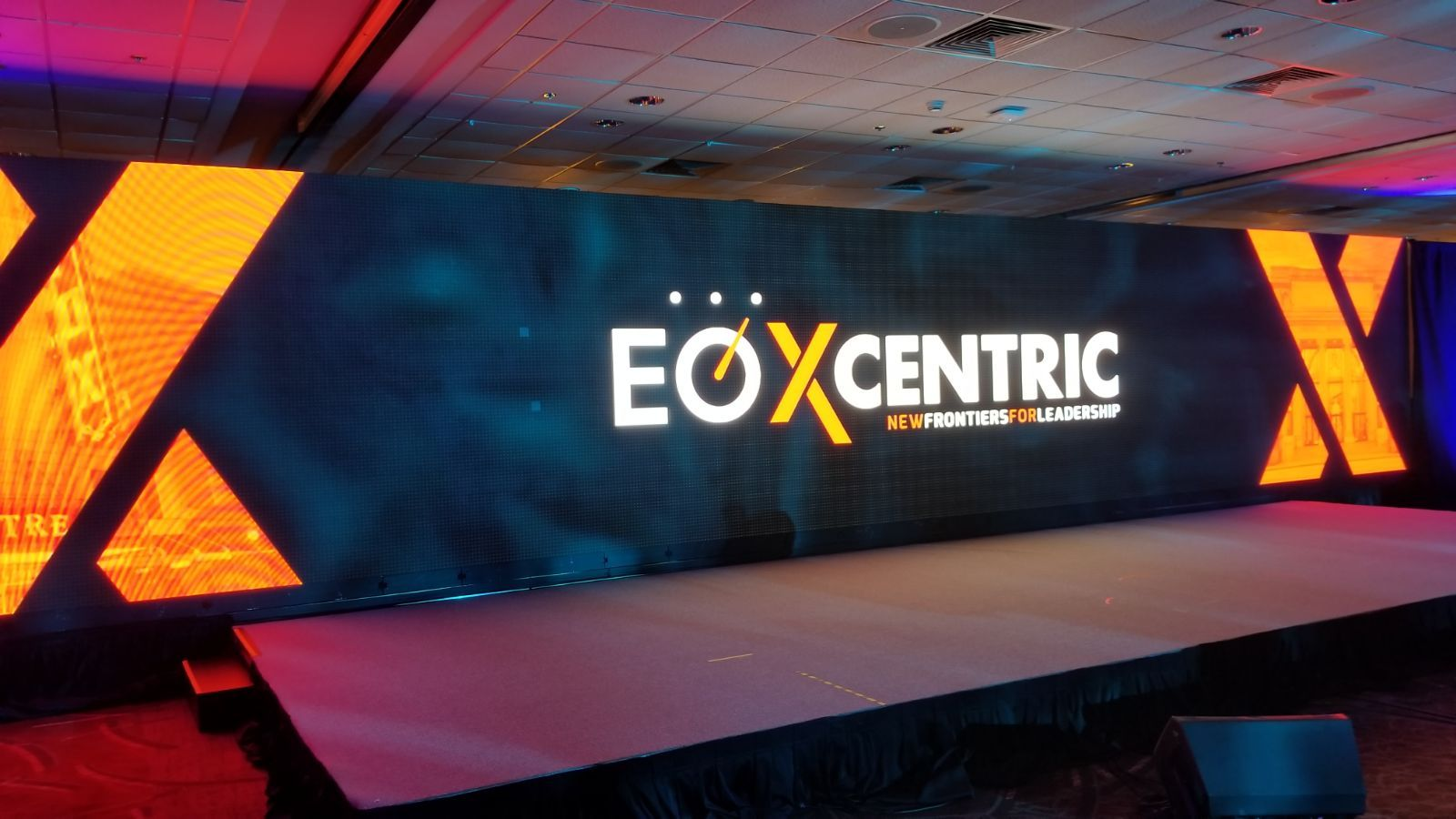 Large LED video wall on corporate conference stage