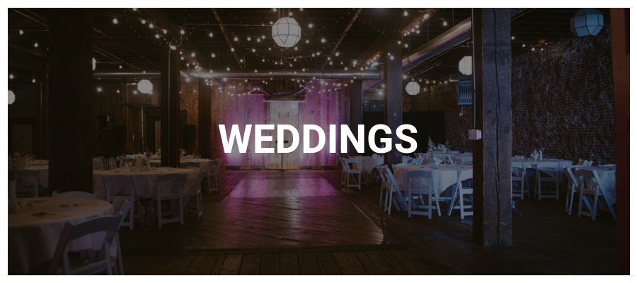 Wedding Button with reception and string lighting