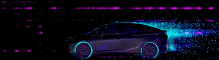 Lighting design video mapped on Toyota Car