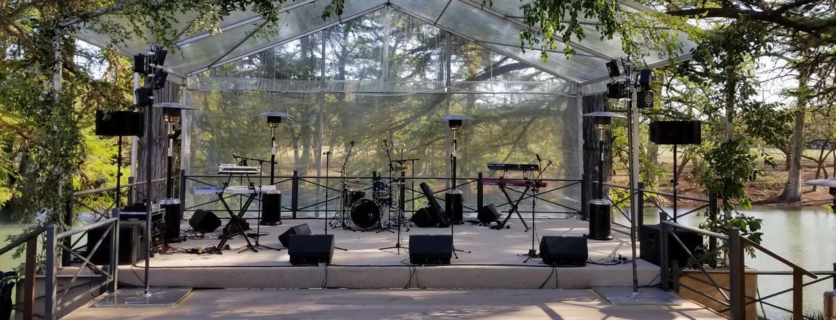 Outdoor wedding in Austin, Texas with a band setup