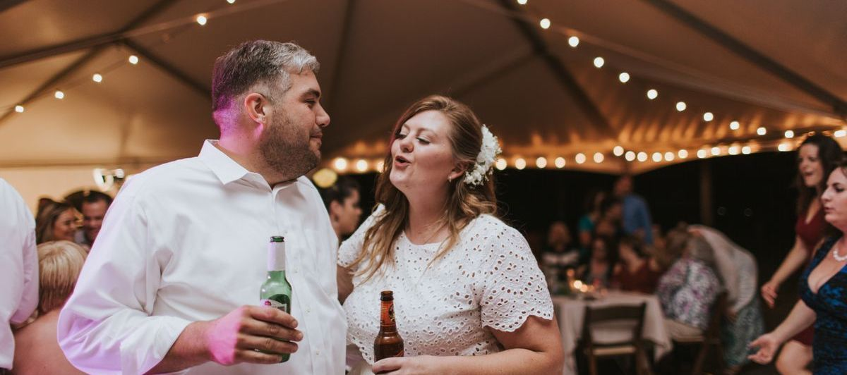Bride and groom at an Austin, Texas wedding reception