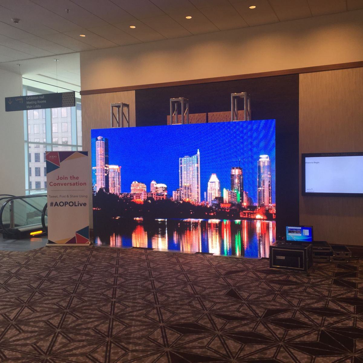 LED video wall display of Austin Skyline