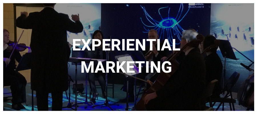Experiential Marketing Button with Small Orchestra and LED Video Wall