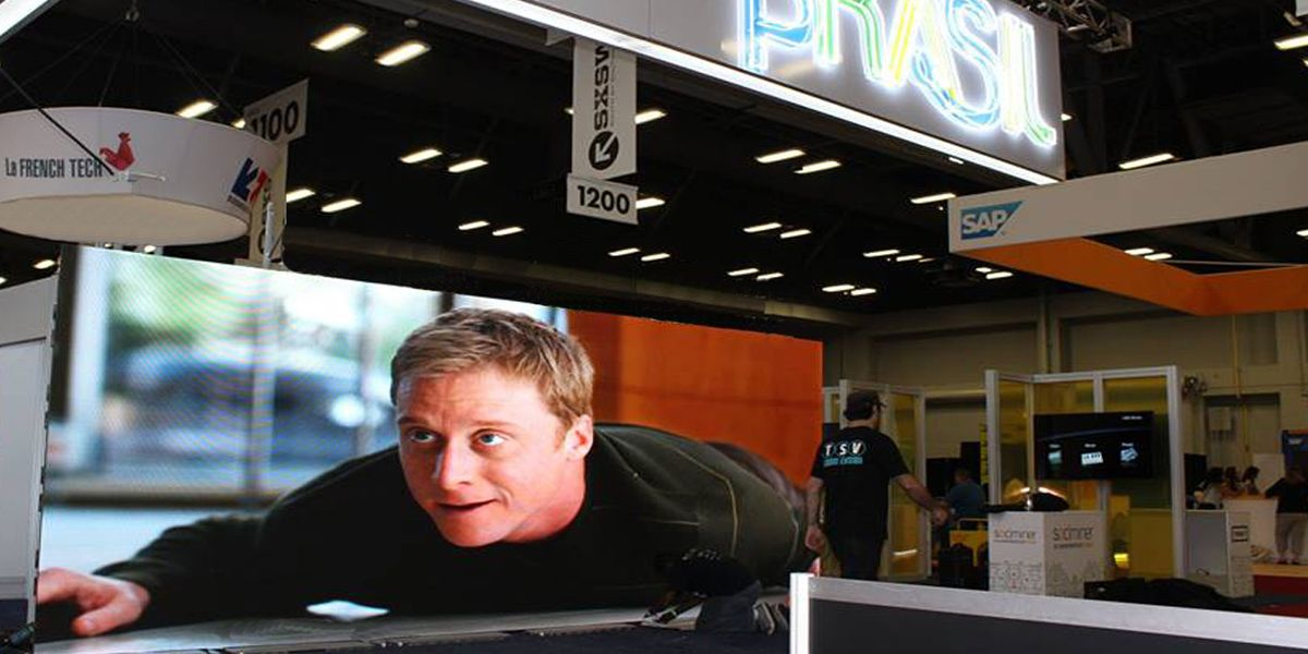 Large LED video wall display at trade show booth at SXSW in ATX