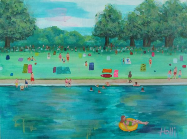 Local Austin artist A Saturday Morning at Barton Springs by Holli Hartman.jpg