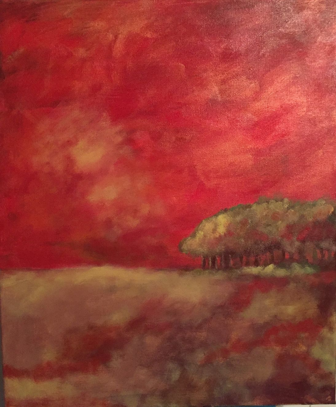 Teresa Rodriguez Red Sky at Midnight 18X24 Acrylic on canvas 300.00.jpg
