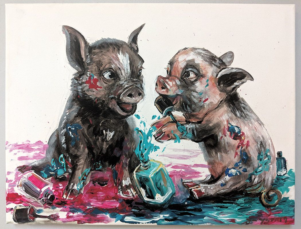 1a_James_Talon_Piggies Playing in Polish_Austin Art_Austin Artist_Austin Gifts.jpg